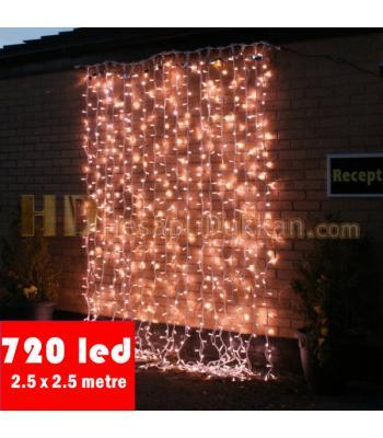 720 led beyaz renk şeffaf kablo perde ışık
