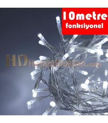 10 metre şeffaf kablo beyaz renk fonksiyonel yılbaşı led ışığı