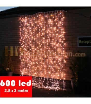 600 led şeffaf kablo beyaz renk perde yılbaşı ışığı