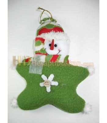 Yeşil kardan adam yıldız şeklinde peluş yılbaşı ağacı süsü