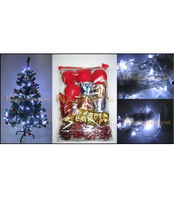 120 cm yılbaşı ağacı + 20 li süs + 10 metre led ışık