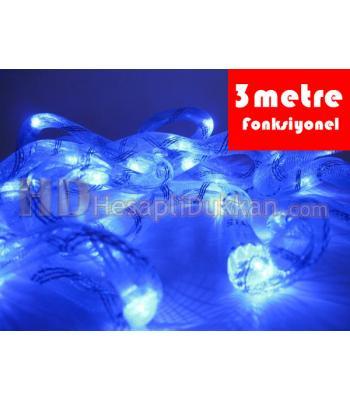 3 metre kumaş hortum mavi renk fonsiyonel yılbaşı ışığı