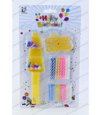 Toptan pasta kesme aparatlı mum seti Happy Birthday yazılı