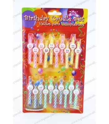 Toptan 20 li doğum günü pasta mumu gülen yüzlü