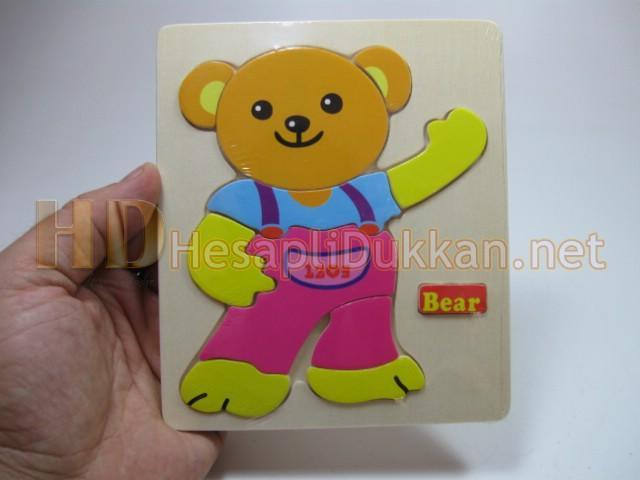 Sevimli ayı ahşap yapboz eğitici oyuncak Hesaplı Dükkan
